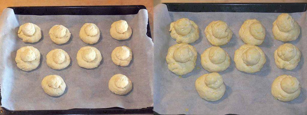 lievitazione prima e dopo delle brioche col tuppo senza glutine con farine naturali